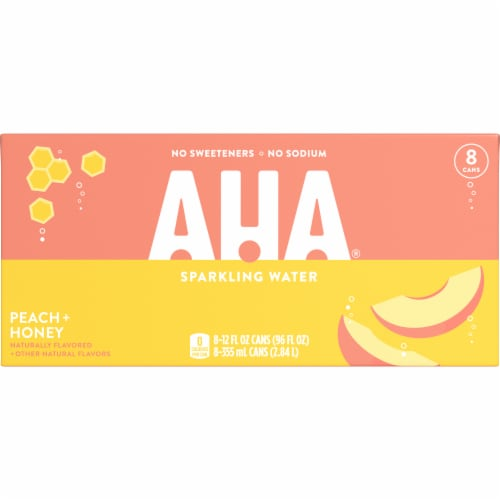 AHA Peach + Honey Sparkling Water Perspective: front