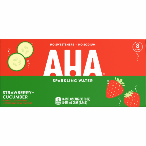 AHA Strawberry + Cucumber Sparkling Water Perspective: front