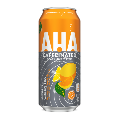 AHA Citrus + Green Tea Sparkling Water Perspective: front