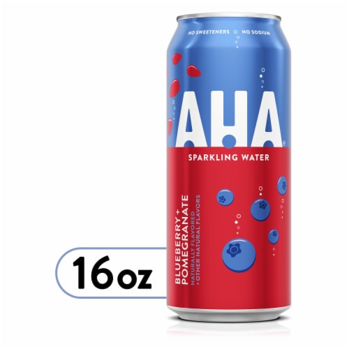 AHA Blueberry + Pomegranate Sparkling Water Perspective: front