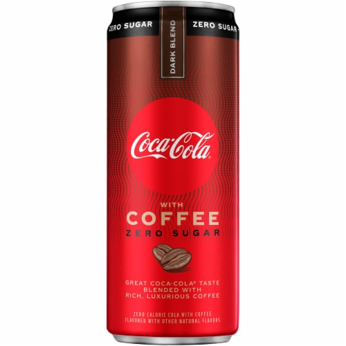 Coca-Cola with Coffee Dark Blend Zero Sugar Soda Perspective: front