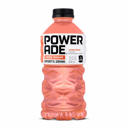 Powerade Zero Sugar Citrus Peach Sports Drink Perspective: front