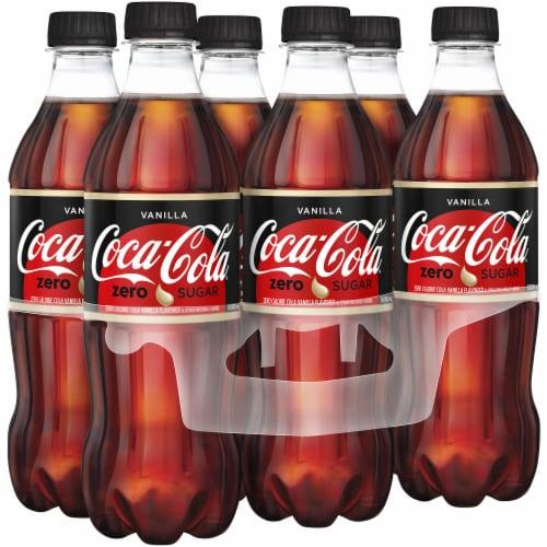 Coca-Cola Vanilla Zero Sugar Bottles - 6 Count Perspective: front