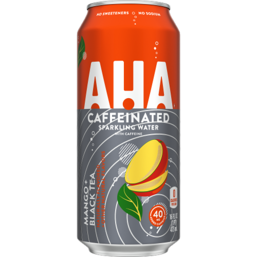 AHA Caffeine Mango & Black Tea Sparkling Water Perspective: front