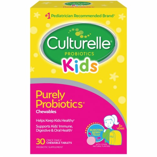 Culturelle Kids Bursting Berry Flavored Chewable Daily Probiotic Tablets Perspective: front