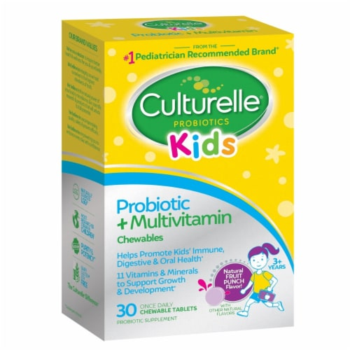 Culturelle Kids Propbiotic & Multivitamin Fruit Punch Flavor Chewable Tablets Perspective: front