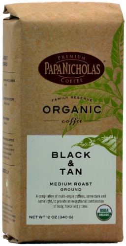 Papa Nicholas Family Reserve Organic Black & Tan Medium Roast Ground Coffee Perspective: front