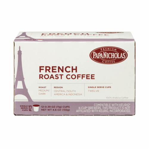 Papa Nicholas French Roast Coffee Single Serve Cups Perspective: front