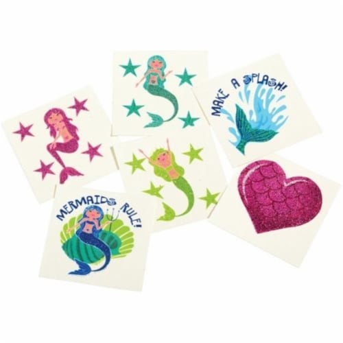 US Toy 4597 Mermaid Glitter Tattoos with Six Design - 36 Piece Perspective: front