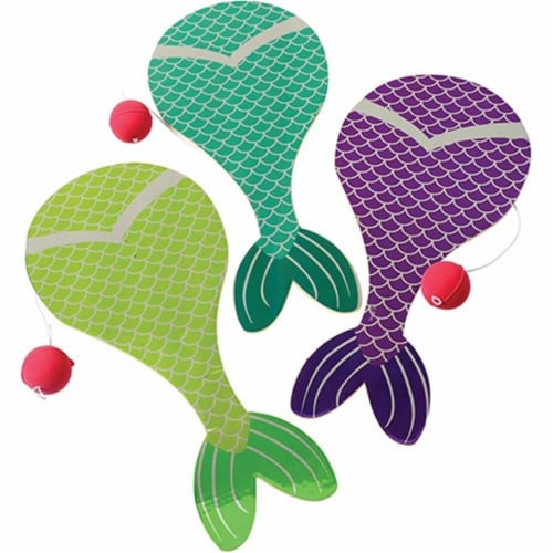 US Toy 4621 Mermaid Tail Paddle Balls for Kids - Pack of 12 Perspective: front
