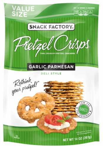 Snack Factory Garlic Parmesan Pretzel Crisps Value Size Perspective: front