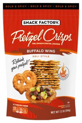 Snack Factory Pretzel Crisps Buffalo Wing Deli Style Crackers Perspective: front