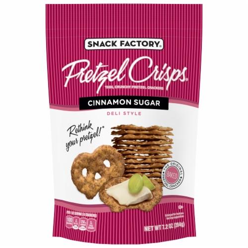 Snack Factory Pretzel Crisps Cinnamon Sugar Thin Crunchy Pretzel Crackers Perspective: front