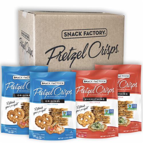 Snack Factory Original & Everything Pretzel Crisps Perspective: front