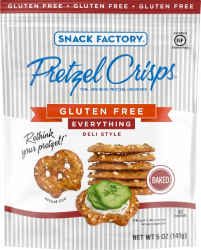 Snack Factory Gluten Free Everything Pretzel Crisps Perspective: front