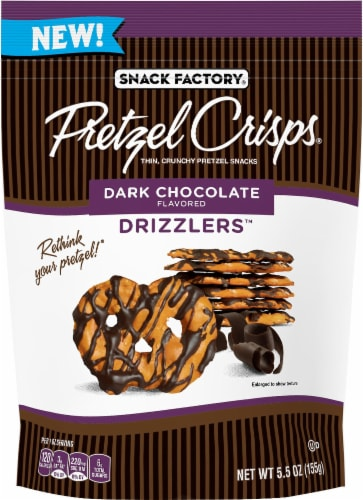 Snack Factory Dark Chocolate Drizzlers Pretzel Crisps Perspective: front