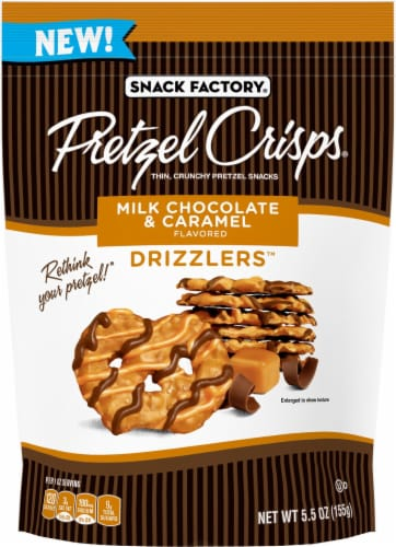 Snack Factory Milk Chocolate Caramel Drizzlers Pretzel Crisps Perspective: front