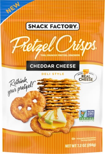 Snack Factory Cheddar Cheese Pretzel Crisps Perspective: front
