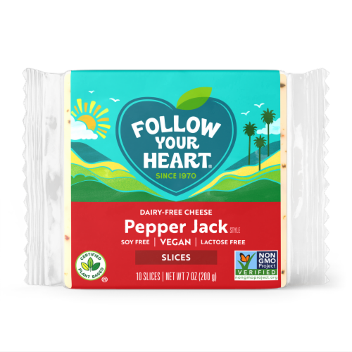 Follow Your Heart Dairy-Free Pepper Jack Cheese Alternative Slices Perspective: front