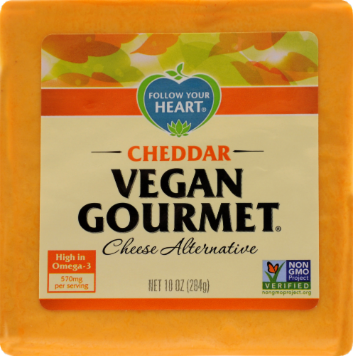 Follow Your Heart Vegan Gourmet Cheddar Cheese Alternative Perspective: front