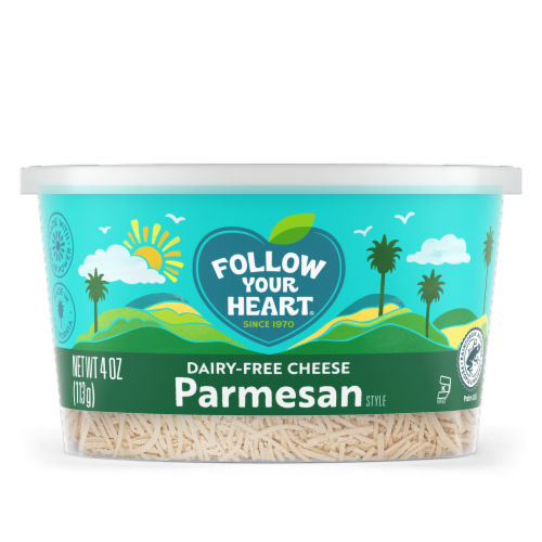 Follow Your Heart Dairy Free Parmesan Style Shredded Cheese Alternative Perspective: front