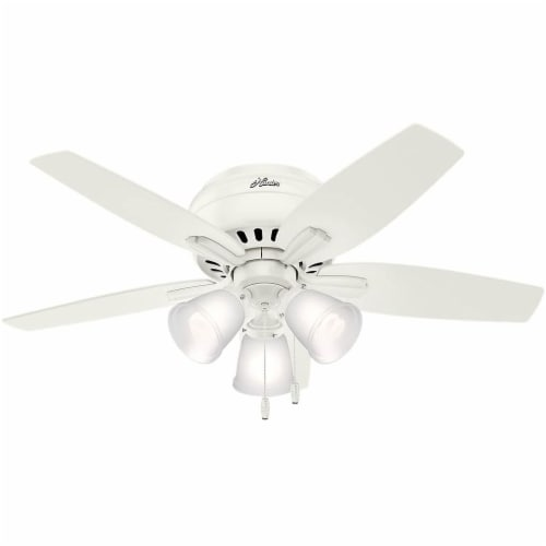 Hunter Fan Company Newsome Low Profile 42 Inch 5 Blade Ceiling Fan, Fresh White Perspective: front