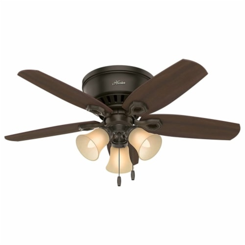 """Hunter Builder 42"""" Low Profile Ceiling Fan w/ LED Lights and Pull Chain, Bronze Perspective: front"""