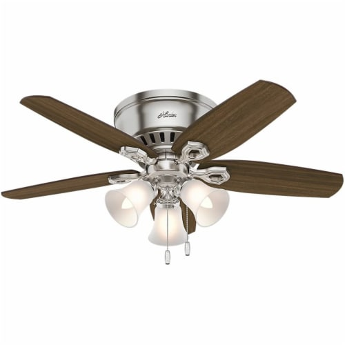 """Hunter Builder 42"""" Quiet Low Profile Ceiling Fan with LED Lights, Brushed Nickel Perspective: front"""