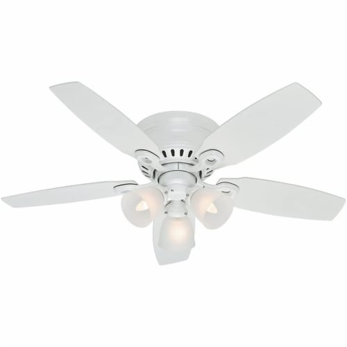 """Hunter Hatherton 46"""" Low Profile Ceiling Fan w/ LED Lights and Pull Chain, White Perspective: front"""