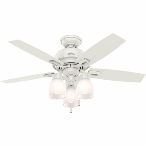 """Hunter Donegan 44"""" Home Ceiling Fan with LED Light Kit and Pull Chains, White Perspective: front"""