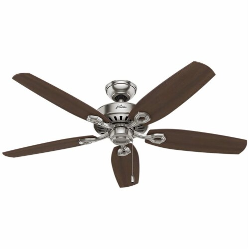 Hunter Fan Company Builder Elite Quiet Home Ceiling Fan with Pull Chain - Brushed Nickel Perspective: front