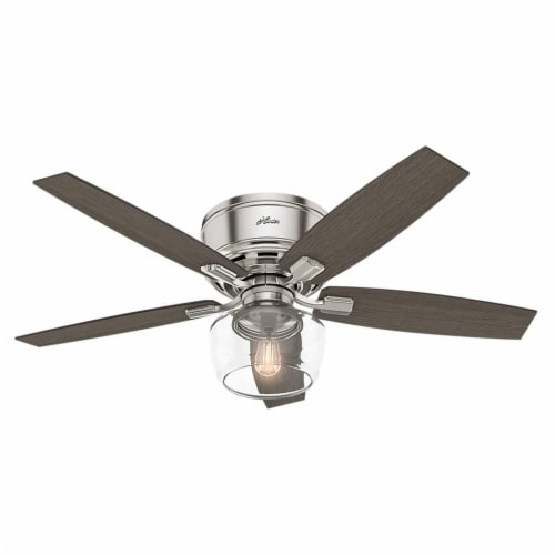 "Hunter Bennett 52"" Indoor Low Profile Ceiling Fan w/ LED Light, Brushed Nickel Perspective: front"