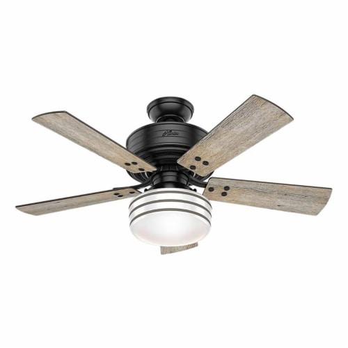 Hunter Fan Company Cedar Key 44 Inch Indoor & Outdoor Ceiling Fan, Matte Black Perspective: front