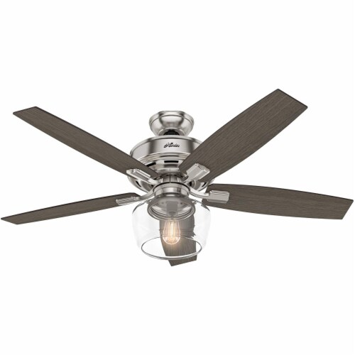 """Hunter Bennett 52"""" Quiet Ceiling Fan with LED Light and Remote Control, Silver Perspective: front"""