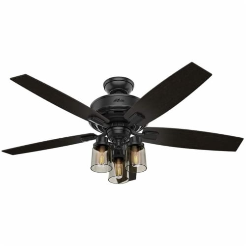 """Hunter Bennett 52"""" Ceiling Fan with LED Lights and Remote Control, Matte Black Perspective: front"""