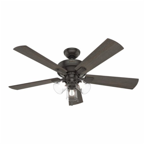 Hunter Crestfield 52 Inch Indoor Ceiling Fan with LED Lights, Noble Bronze Perspective: front