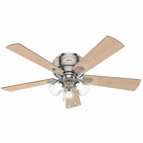 "Hunter Crestfield 52"" Quiet Indoor Ceiling Fan w/ LED Lights , Brushed Nickel Perspective: front"