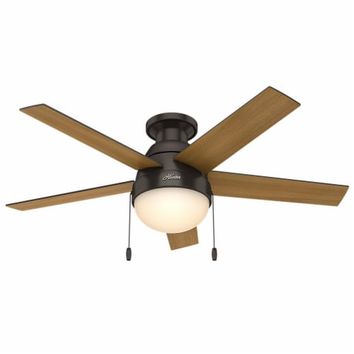 """Hunter Low Profile Anslee 46"""" Home Ceiling Fan with LED Light and Pull Chains Perspective: front"""