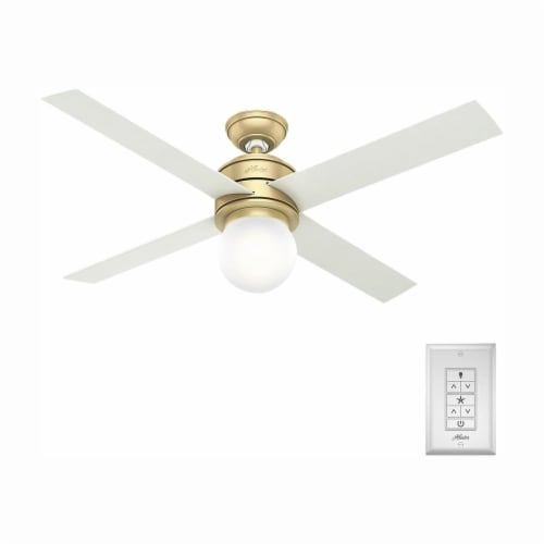 """Hunter Hepburn 52"""" Indoor Ceiling Fan with LED Lights with Switch, Modern Brass Perspective: front"""