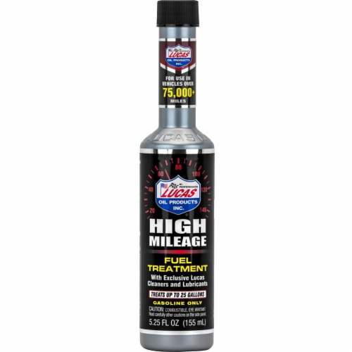 Lucas Oil Products High Mileage Fuel Treatment Perspective: front