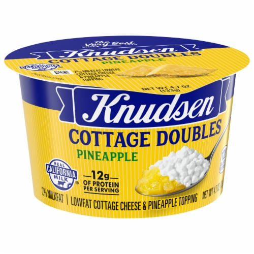 Knudsen Cottage Doubles Low Fat Cottage Cheese & Pineapple Topping Perspective: front
