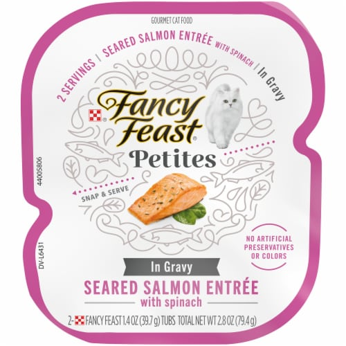 Fancy Feast Petites Seared Salmon with Spinach In Gravy Gourmet Wet Cat Food Perspective: front