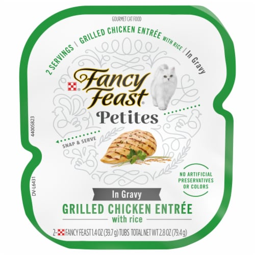 Fancy Feast Petites Grilled Chicken Entree with Rice In Gravy Gourmet Wet Cat Food Perspective: front