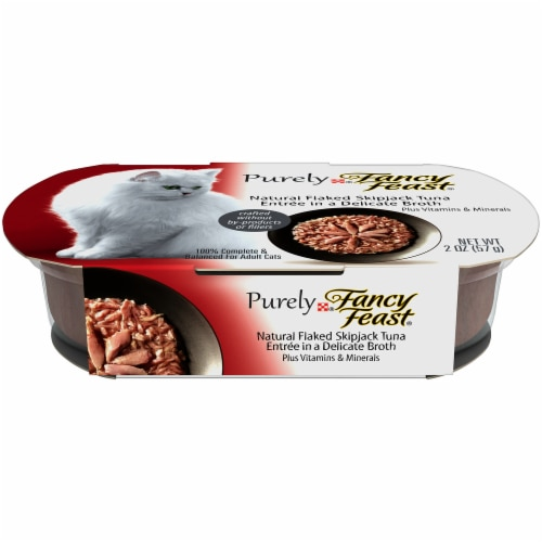 Fancy Feast Purely Natural Flaked Skipjack Tuna Entree Grain Free Broth Wet Cat Food Perspective: front