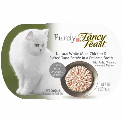 Fancy Feast Purely Natural White Meat Chicken & Flaked Tuna Grain Free Wet Cat Food Perspective: front