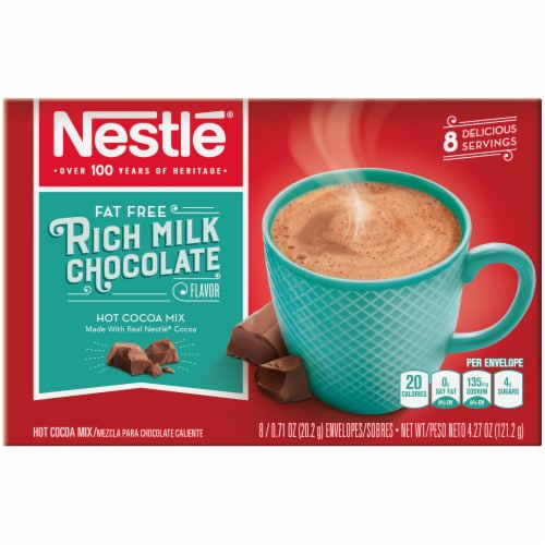 Nestle's Fat Free Rich Milk Chocolate Hot Cocoa Mix Perspective: front