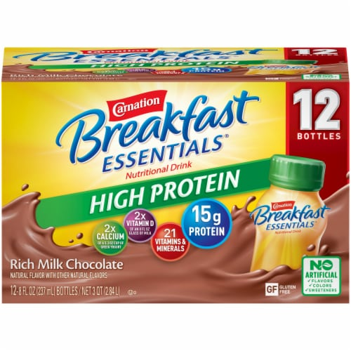 Carnation Breakfast Essentials Chocolate High Protein Complete Nutritional Drink Perspective: front