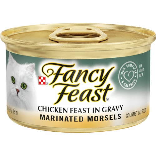 Fancy Feast Marinated Morsels Chicken Feast in Gravy Wet Cat Food Can Perspective: front
