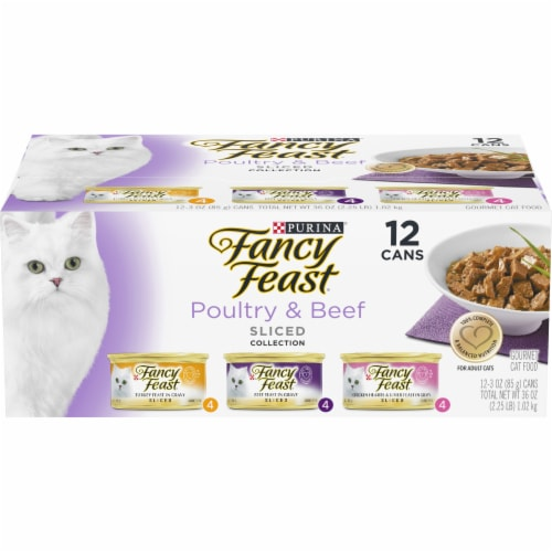 Fancy Feast Poultry & Beef Sliced Collection Gravy Wet Cat Food Variety Pack Perspective: front