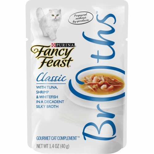 Fancy Feast Classic Broths with Tuna Shrimp & Whitefish Wet Cat Food Pouch Perspective: front